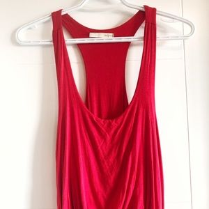 Mendocino red racer back high low maxi dress